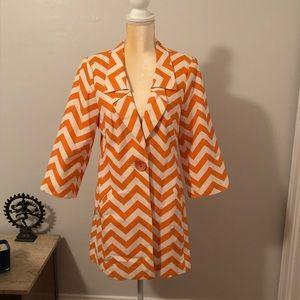 SALE 3 Sisters Painted Orange ZigZag Jacket Sz L